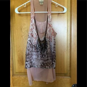 Tank with built in necklace detailing
